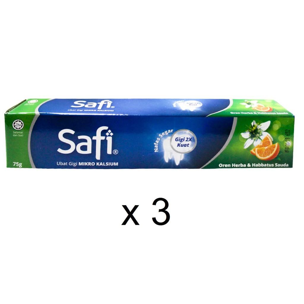 Safi Micro Calcium Orange Herbal & Habbatus Sauda Toothpaste (3 x 75g)