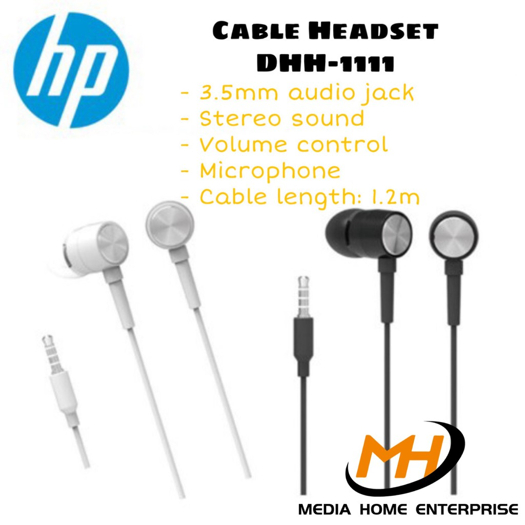 HP Cable Headset DHH-1111 - 3.5mm audio jack, stereo sound, volume control, fashion appearance high quality sound effect