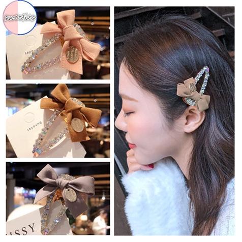 Korean Style Girl Crystal Bow Bowknot Ponytail Holder Hair Pin Clip Barrette
