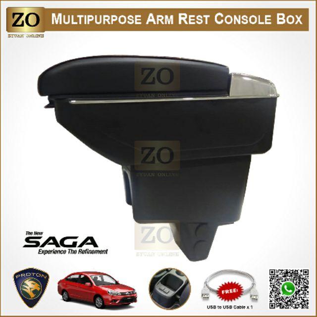 [READY STOCK] Proton Saga VVT Armrest 7 USB Port 2016~2019, Adjustable, Double Layer Arm Rest Console Box