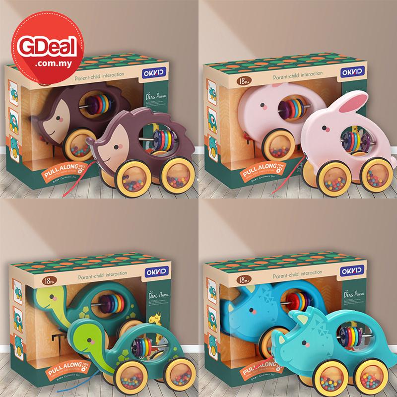 GDeal Kindergarten Pull Toy Cart Baby Drag Toddler Toy Animal Design Car For Kid Mainan Kanak Kanak