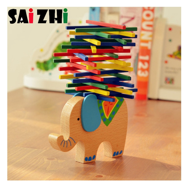 Saizhi Diy Wooden Blocks Animal Balance Beam Elephant Balancing Blocks Wooden Toys For Children Educational Toys Sz3b15