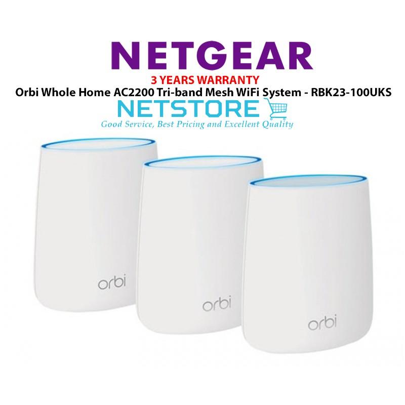 Netgear Orbi Whole Home AC2200 Tri-band Mesh WiFi System 3 Pack -  RBK23-100UKS