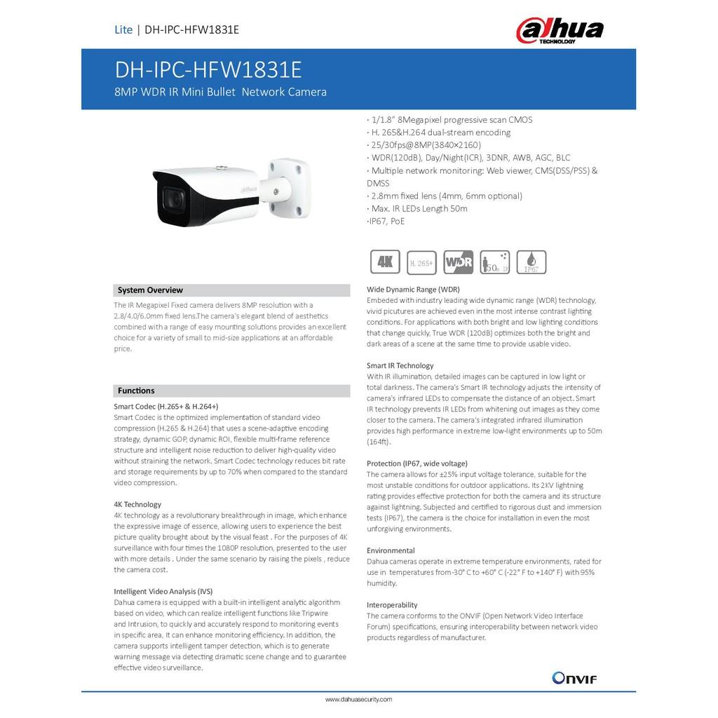 DAHUA (IPC-HFW1831E) 8MP NETWORK FIXED 2 8MM OUTDOOR IR BULLET CAMERA