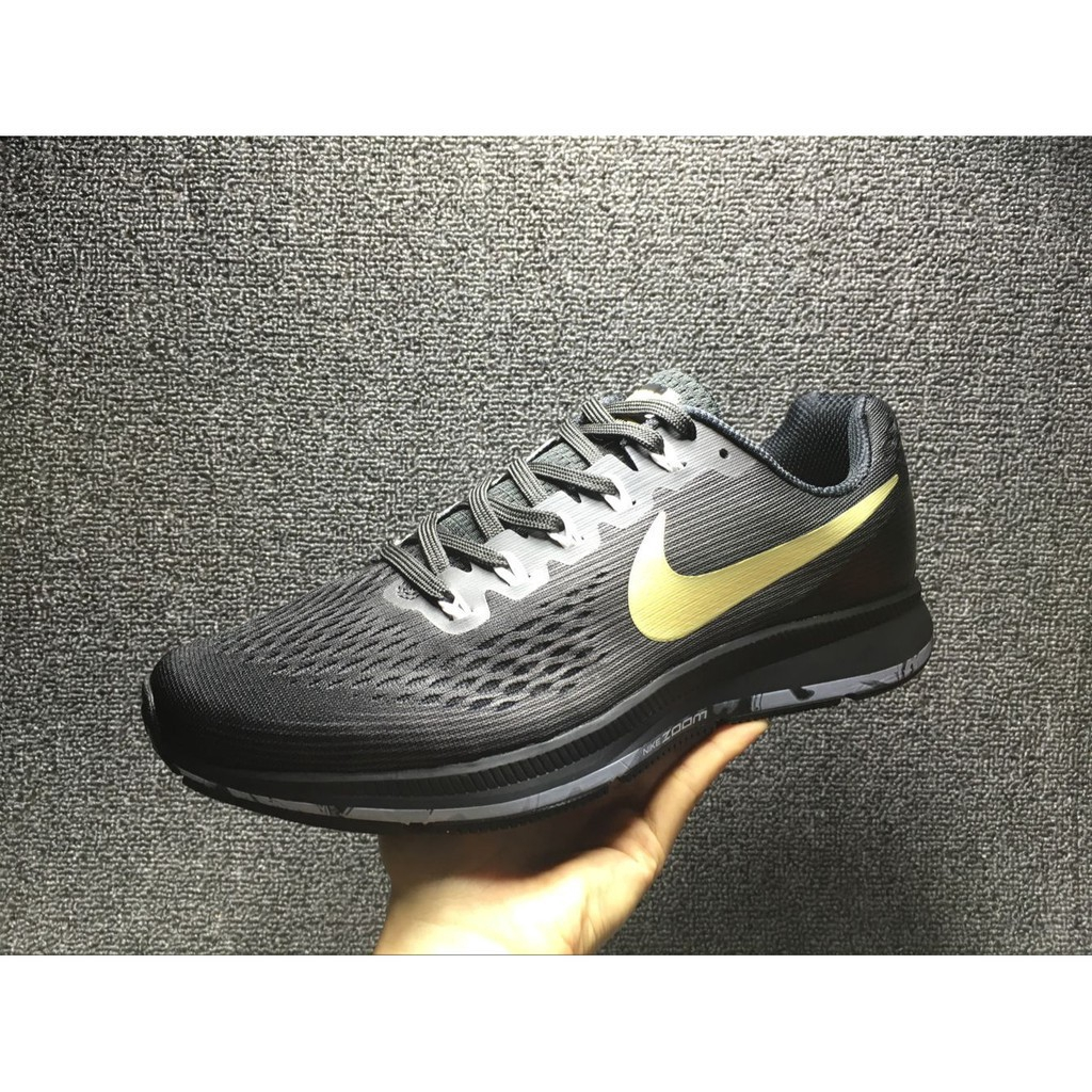 innovative design 8dcaa be23f NIKE AIR ZOOM pegasus 34 black gold sport running shoe for men size