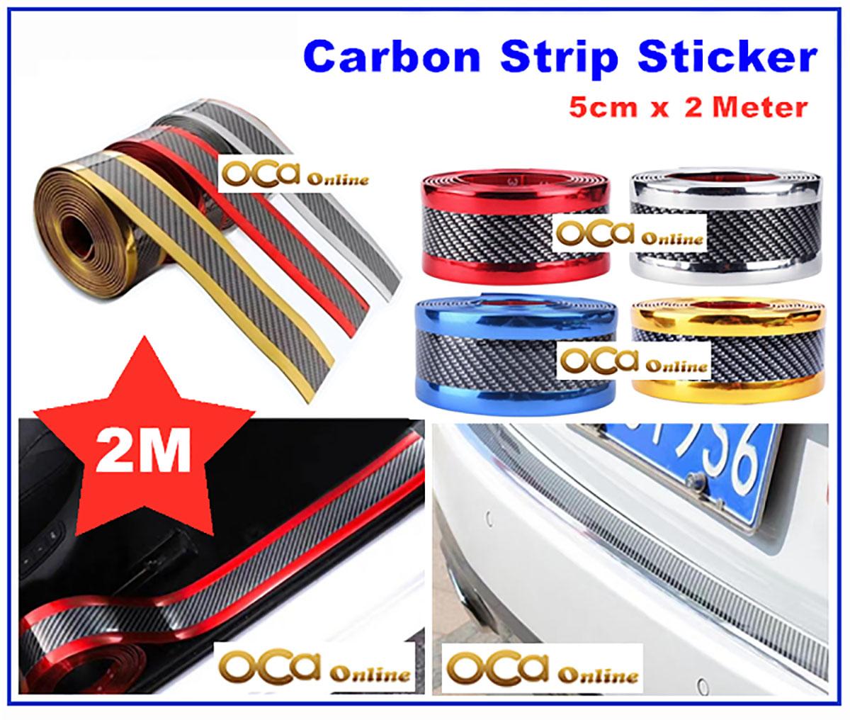5cm X 2meter Car 5D 6D Carbon Sticker Strip Vinyl door sill plate bumper trunk protector guard (Blue Red Silver Gold)