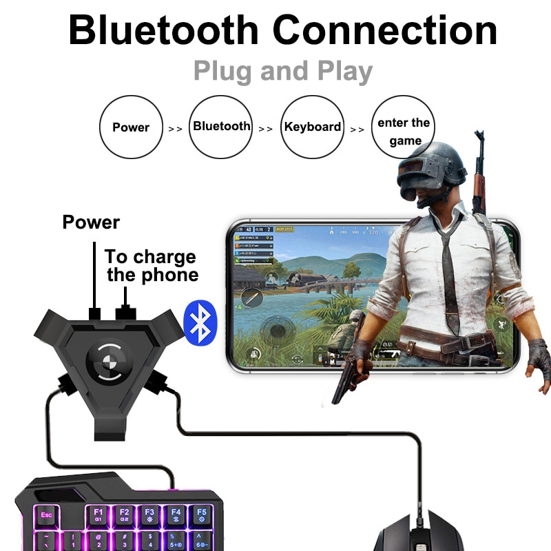 🔥PUBG Mobile Gamepad Control Gaming Keyboard Mouse Converter For Android  IOS Phone