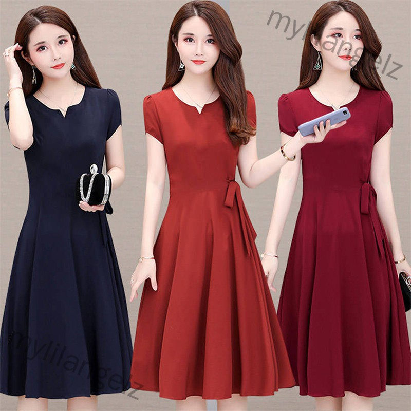 Mylilangelz Woman Summer Loose Pure Color Short Sleeves Mid-length Dress Female Fashion Dress