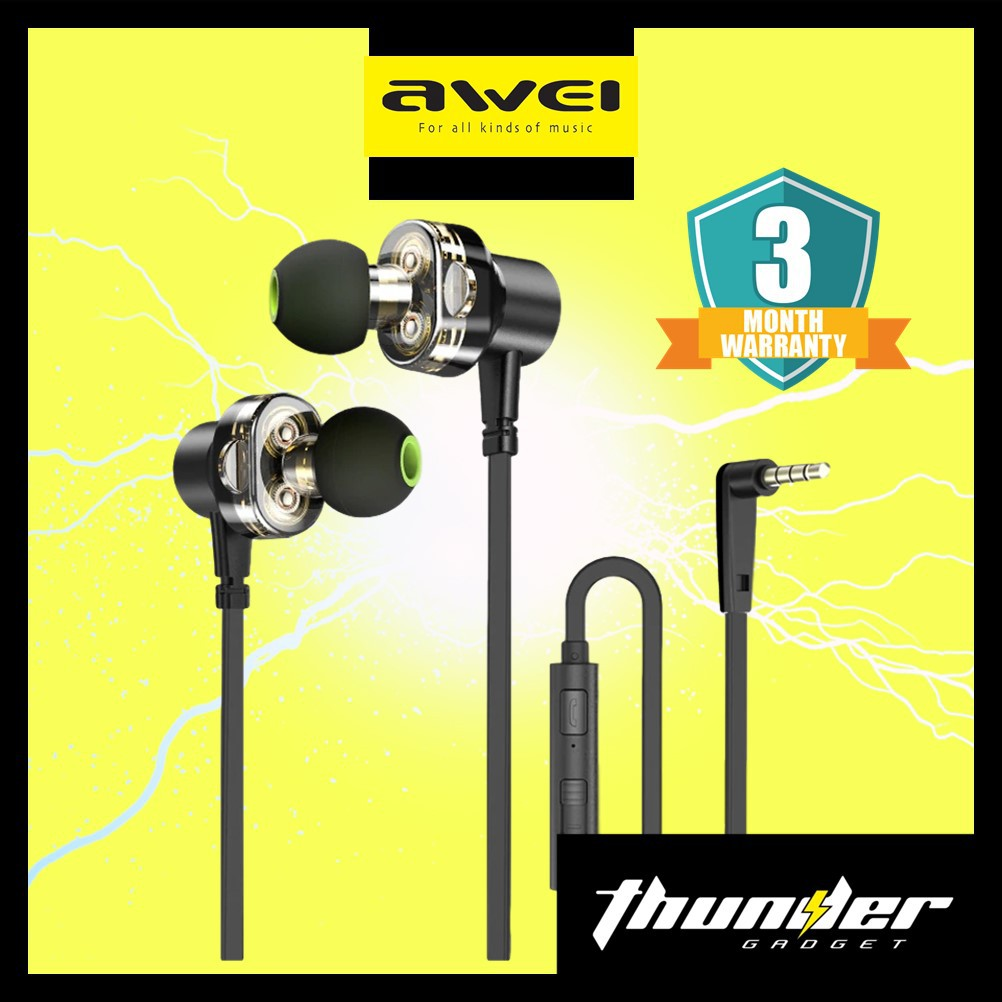 Awei Z1 3.5mm Double Moving Earphone Heavy Bass Universal Wired
