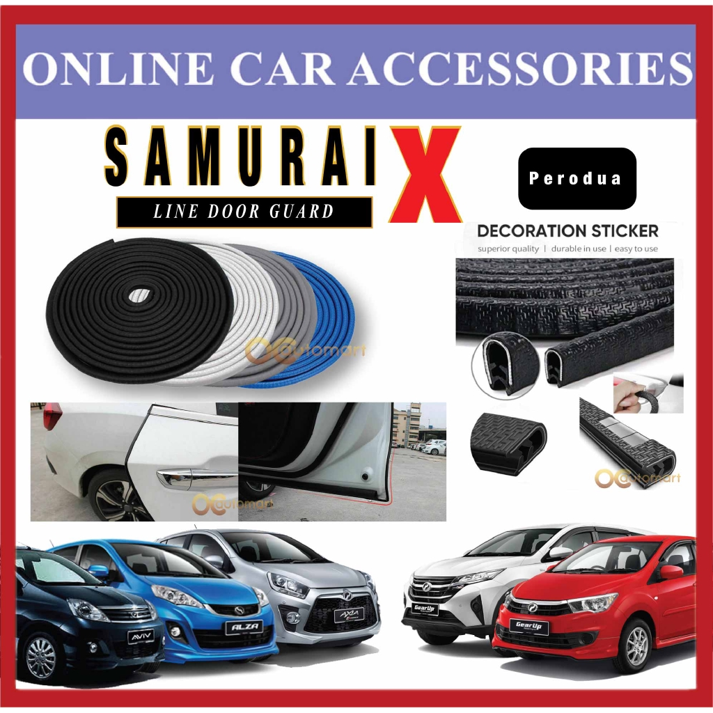 Samurai X Car Door Edge Guards 16Ft (5M) Rubber Car Door Protector Car Door Trim For Perodua Car (4 Door)