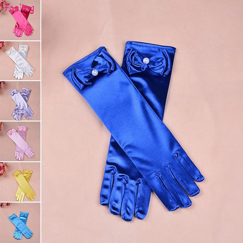 Fashion Long Satin Gloves Kid Satin Bow Sleeves Gloves Party Wedding Performance