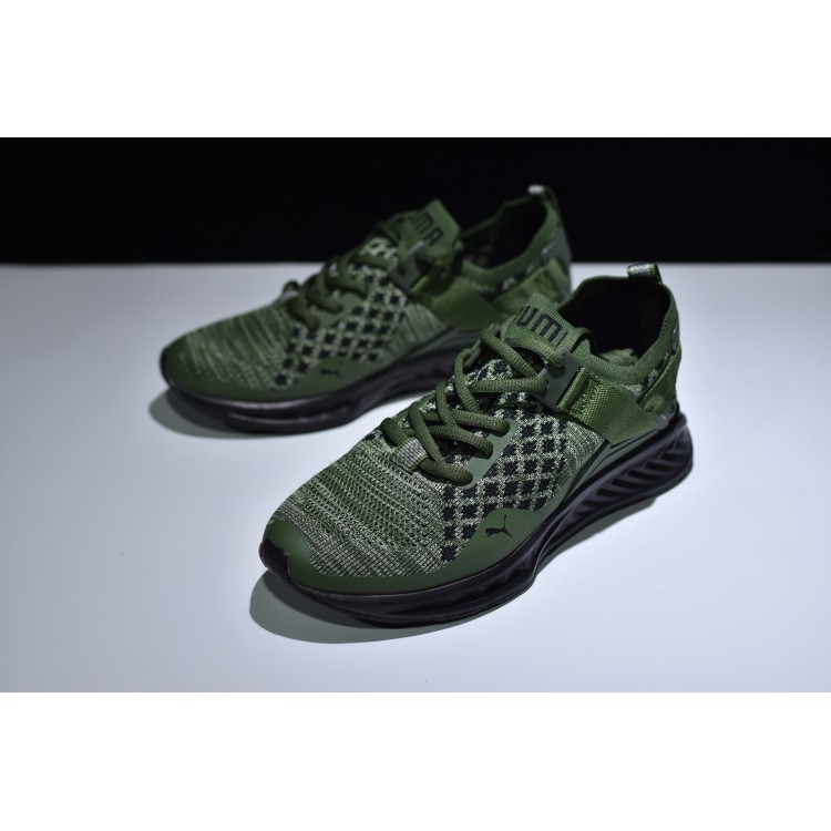 7948c17de9a178 Original Puma Ignite Evoknit Lo shoes men women sneakers Black Green Army  36-44
