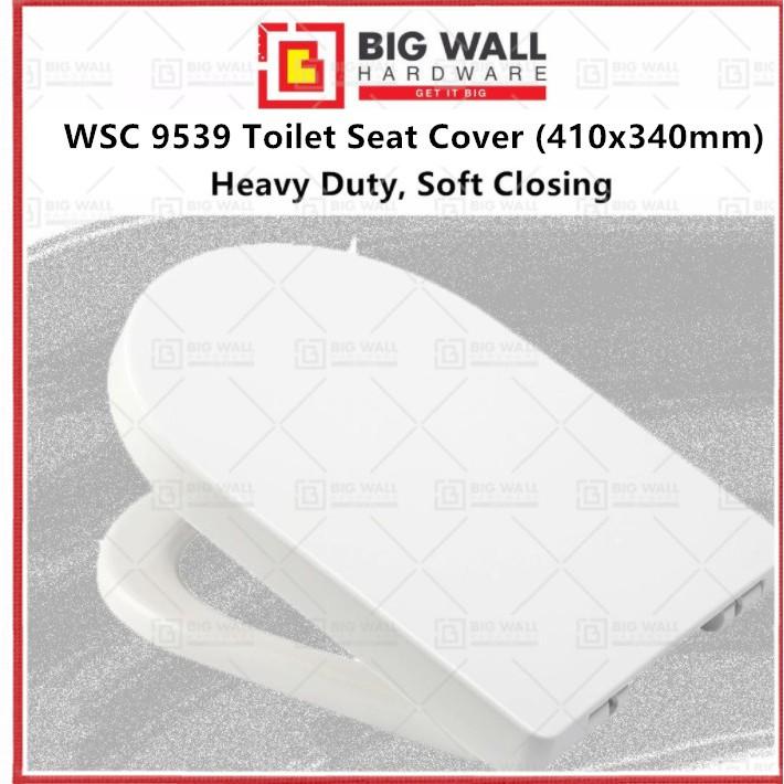 Heavy Duty WSC 9539 Soft Close Toilet Seat Cover  410x340mm U Shape Big Wall Hardware
