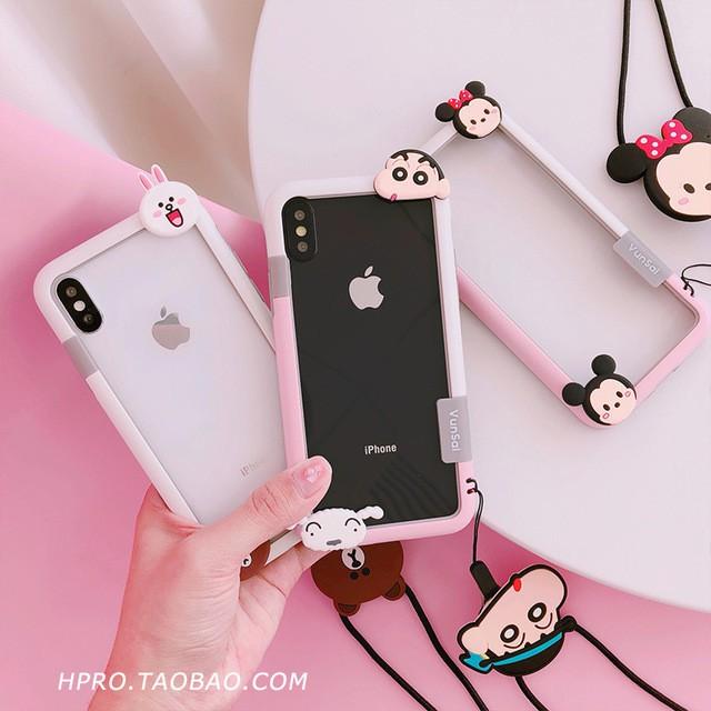 HOT Japan and South Korea cartoon border lanyard shell 6splus apple x  mobile phone