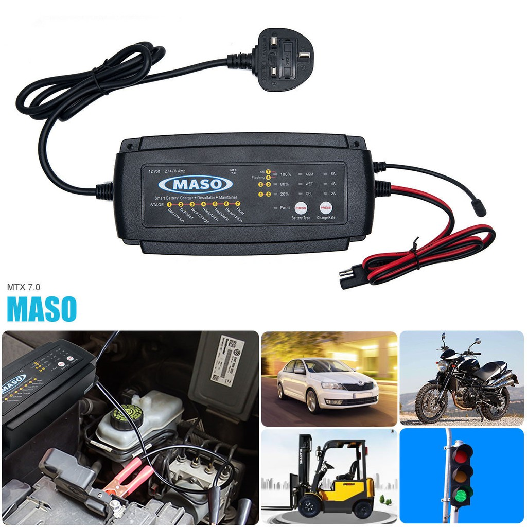 Maso 2 4 8a Car Smart Battery Charger Conditioner Lead Acid Circuit 12v Desulfator Kit With Auto Cut Off Motorcycle Shopee Malaysia