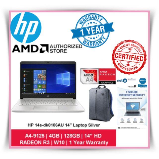 Hp 14s Dk0106au 14 Laptop Amd A4 9125 4gb 128gb Ssd Amd Radeon R3 W10 Free F Secure 3 Years 1 Device Shopee Malaysia
