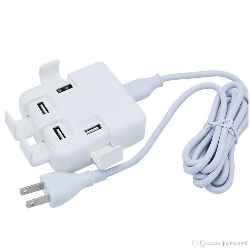 20W USB Power Adapter 4 Ports Fast Charger White Colour US Plug with 2 pin adapter 1 Month Warranty [CLERANCE SALE]