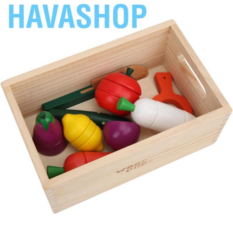 Havashop Children Wooden Magnetic Vegetables Wood Kitchen Kid Cooking Scenes Simulation Toy