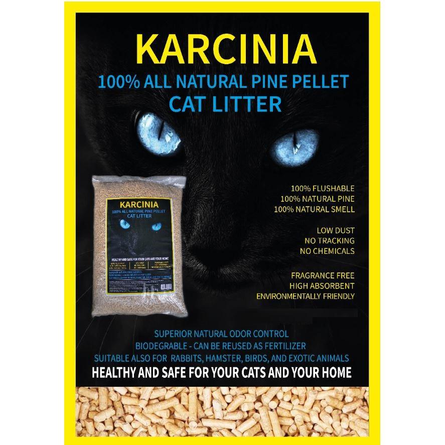 (NEW ARRIVAL) 10kg KARCINIA Eco Natural Pine Wood Cat Litter | Pasir Kucing Kayu Pine 10kg