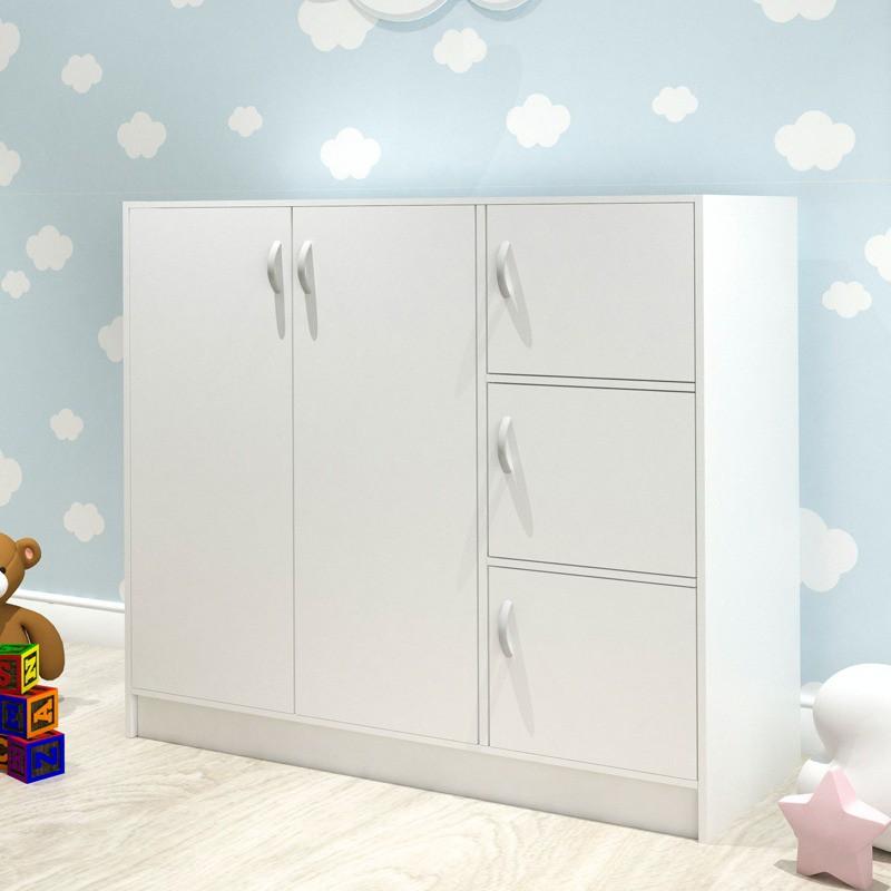 [READY STOCK] BARRY 5 Doors Children Wardrobe white color/ almari kanak kanak