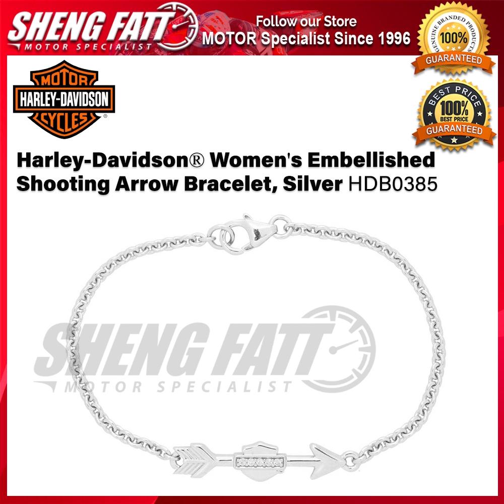Harley-Davidson® Women's Embellished Shooting Arrow Bracelet, Silver HDB0385