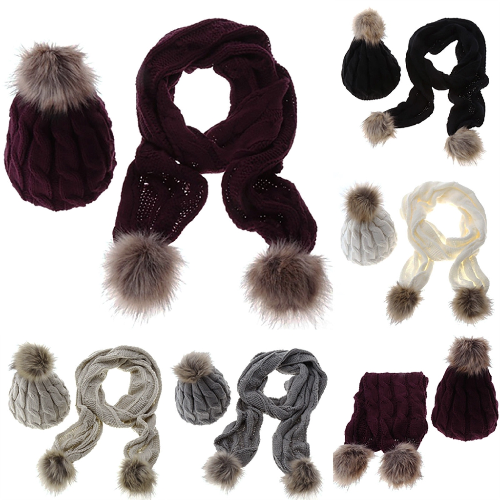 c4d3b82f251 Ladies Womens Faux Fur Bobble Knitted Crochet Long Scarf Pom Ski Beanie Set