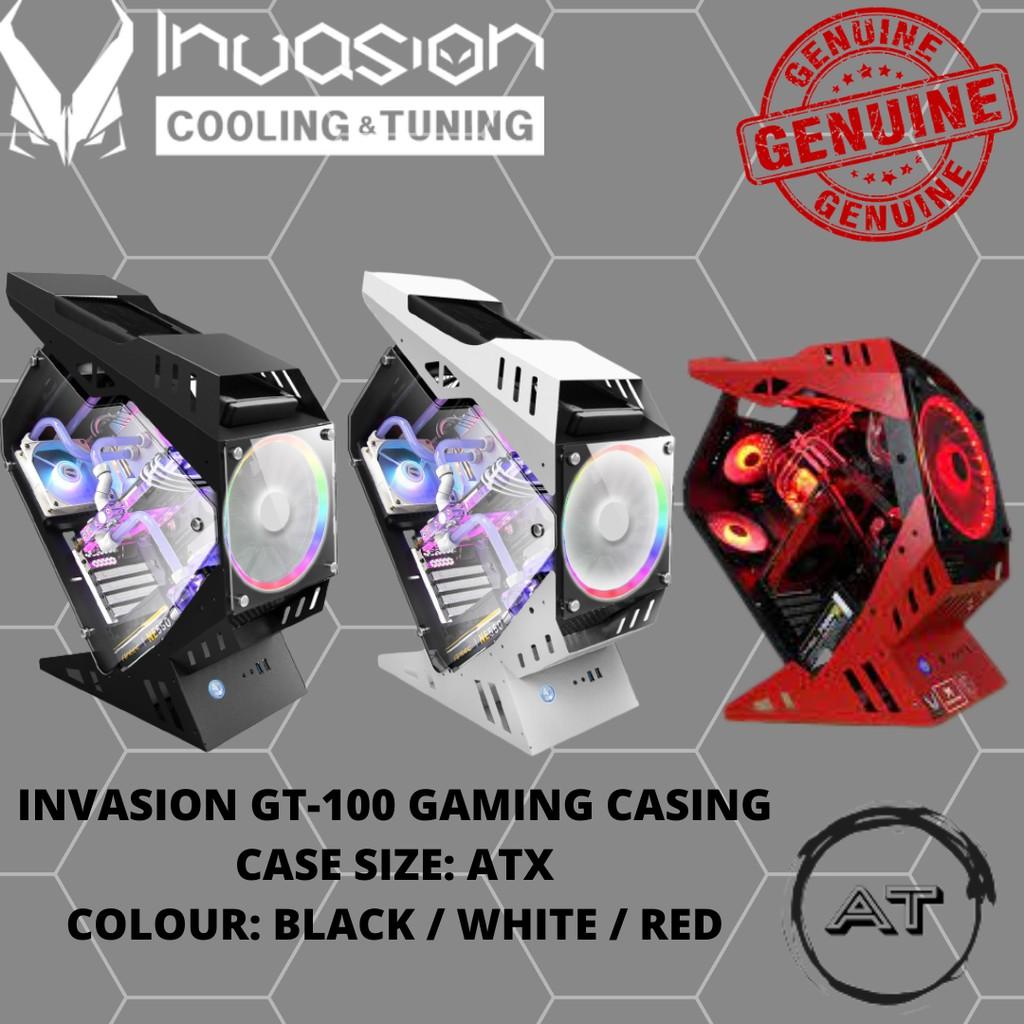 INVASION GT-100 GAMING CASING WHITE/BLACK/RED ATX (5 FANS ARGB)