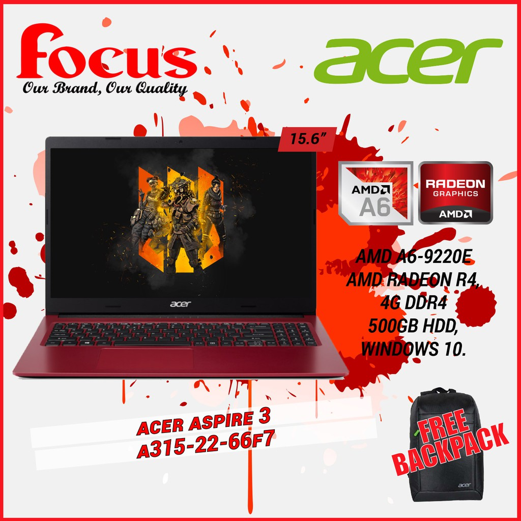 Acer Aspire 3 A315 22 66f7 Red Amd A6 9220e 4gb Ddr4 Ram 500gb Hdd 15 6 Inc Win10 Shopee Malaysia