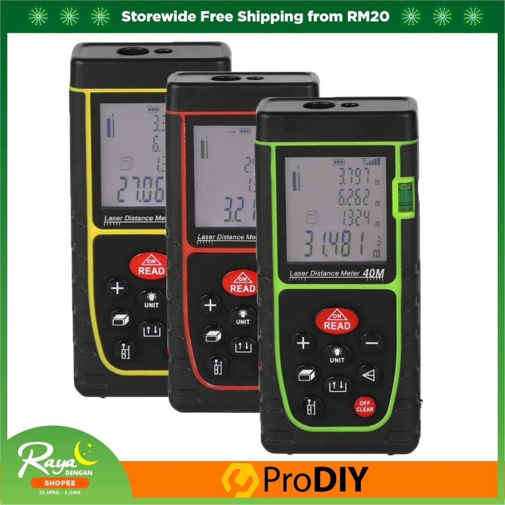 Digital Laser Point Water Resistance Distance Meter Measure Tape Range  Finder 40m (Random Colour)