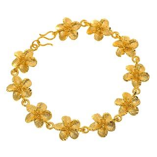 60fe431f1 Elfi 916 Korean Gold 24K Plated Large Flower Petals Charm Bracelet GPB-13