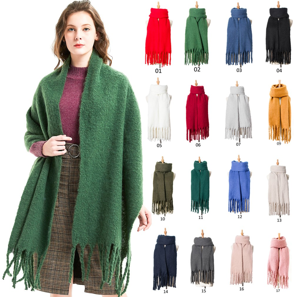 Women Large Paisley Check Oversized Blanket Scarf Thick Winter Warm Shawl Wrap