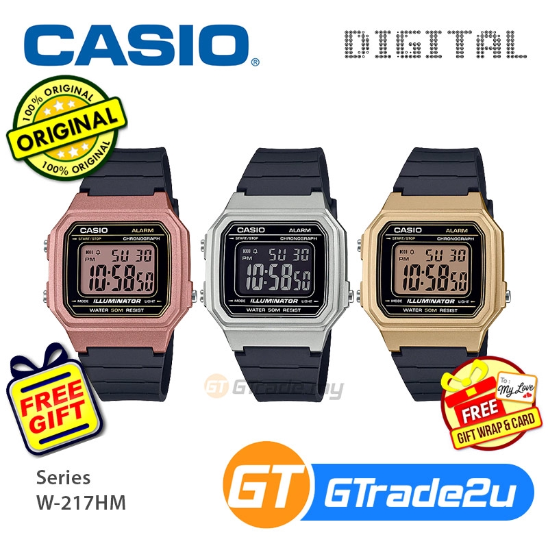 Casio Mens W-217HM Digital Watch Special Rosegold Gold Silver Color