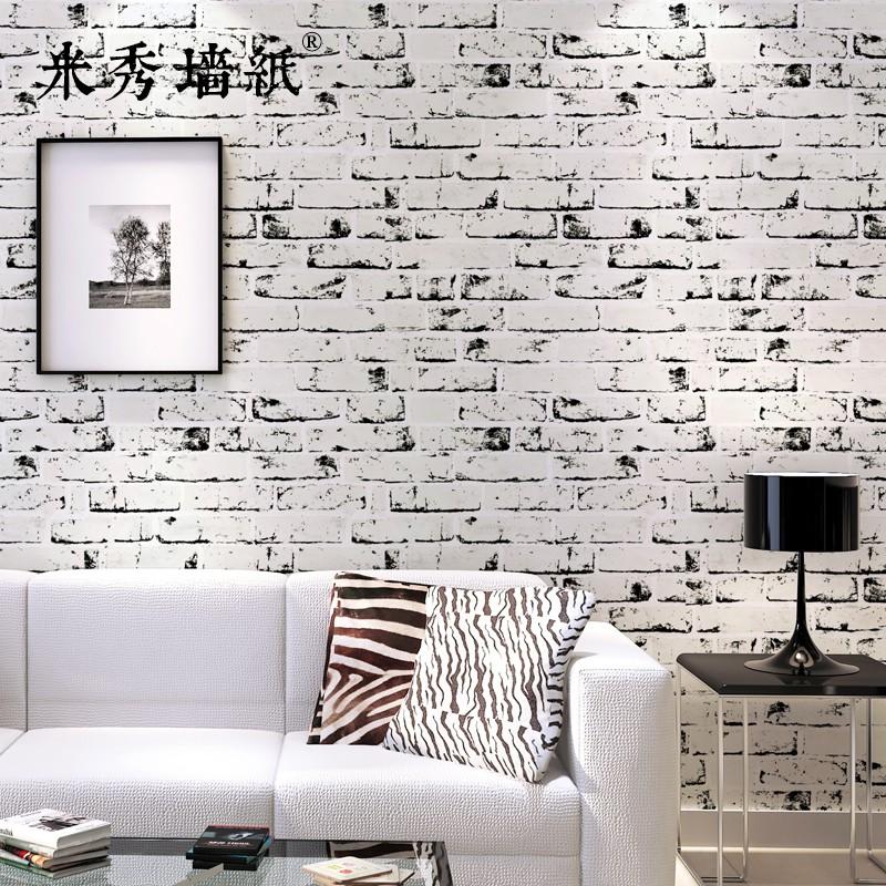 retro black and white brick wallpaper 3d non woven clothing shop living room tv