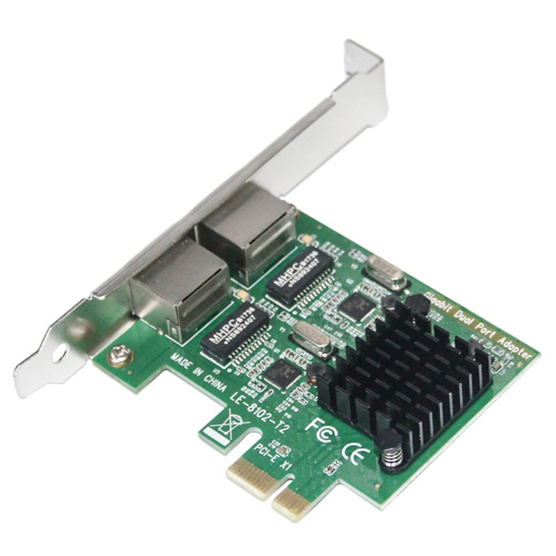 ~In Stock~Dual-Port Slot Pci-E Interface Ethernet Network Card 10/100/1000Mbps