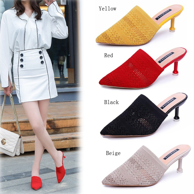 7c0ab3d7625 Women Pointed Toe Stiletto Slippers