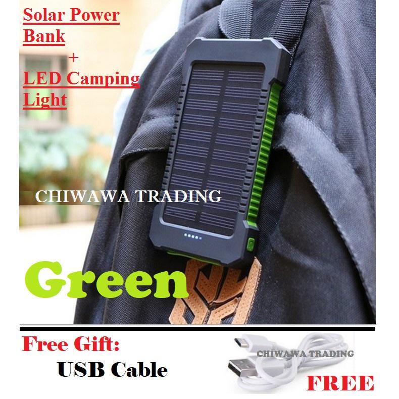 TX17【Free Gift : USB Cable】 30000mAh Solar Power Bank + LED Light