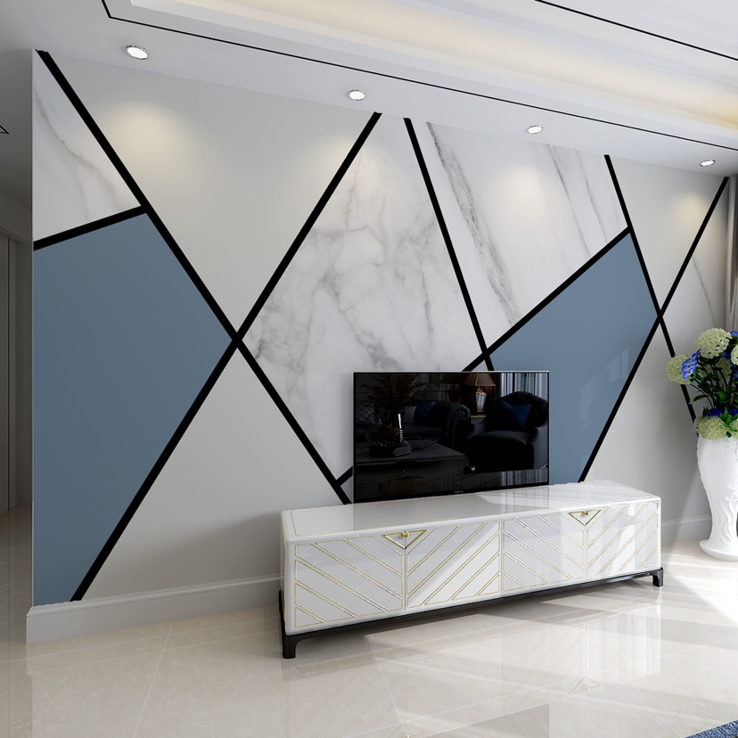 2020 New Style Wallpaper Film And Tv Wall Cloth Geometry 3d Tv Background Wall Modern Minimalist 8d Wallpaper Nordic Style Shopee Malaysia