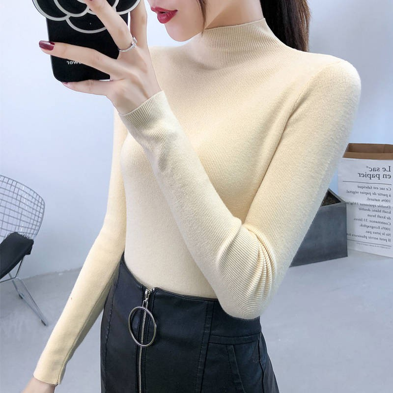 slim long sleeved knit Women sweaterComes with a half turtleneck 2020 autumn and winter new bottoming shirt female long sleeved foreign wild Korean
