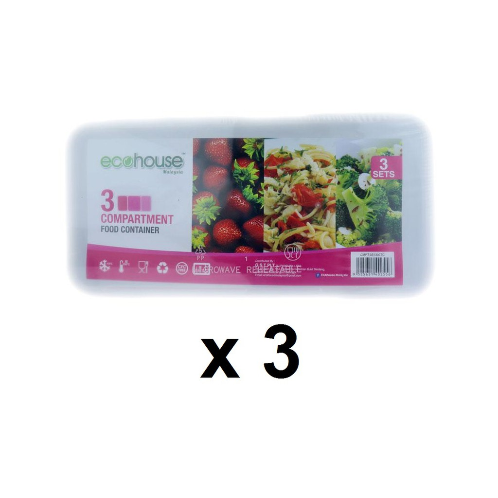 Ecohouse Microwave 3 Compartment Lunch Box (3's x 3) 1300TC