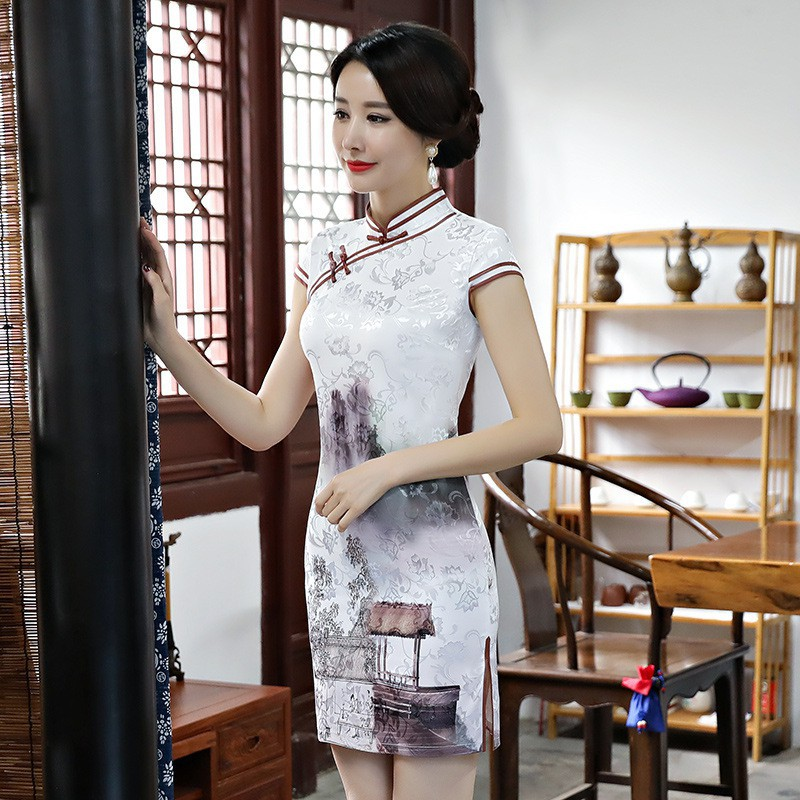 699aed8ed Traditional Chinese Women Dress Novelty Print Flower Rayon Sexy Qipao Lady