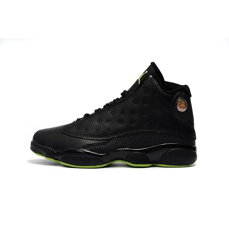 pretty nice 2592b 0ac40 Air Jordan XIII 13 Retro Basketball Shoes Black/Green Fur