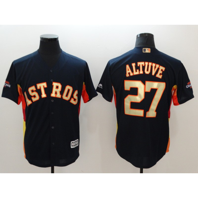 super popular 9aabe e7026 MLB Embroidered Jersey Astros Astros Champion Baseball Suit 27th ALTUVE  Gold Short Sleeve Shirt
