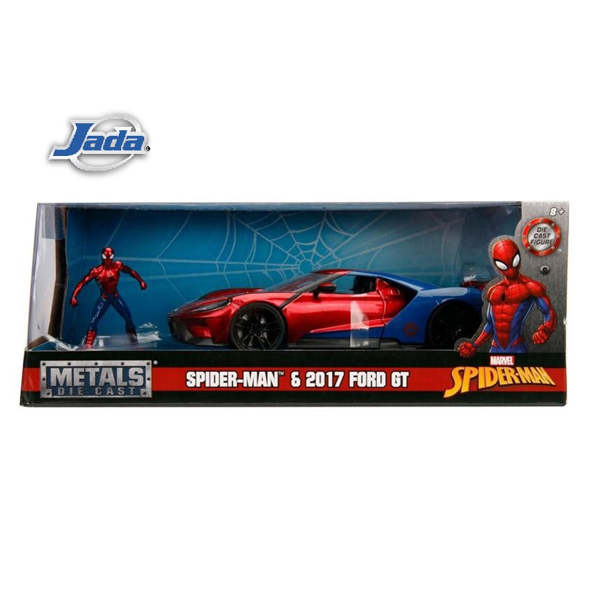 JADA 1:24 HOLLYWOOD RIDES METAL DIE CAST MARVEL SPIDERMAN 2017 FORD GT (RED) W/ SPIDERMAN FIGURE MODEL COLLECTION 99725