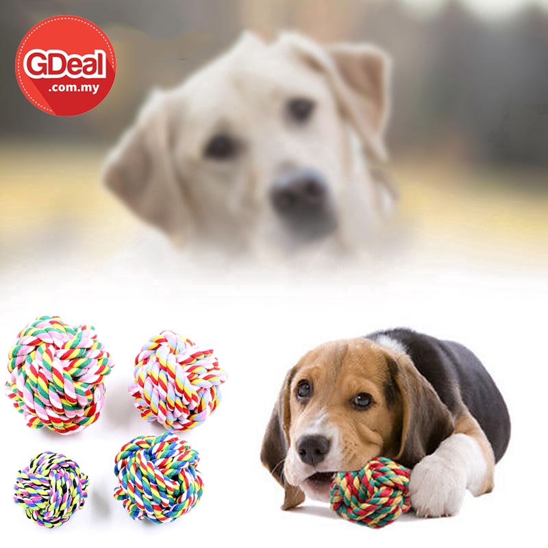 GDeal Cotton Rope Knot Ball Pet Bite Resistant Interactive Dog Play Chew Toys (Random Colour)