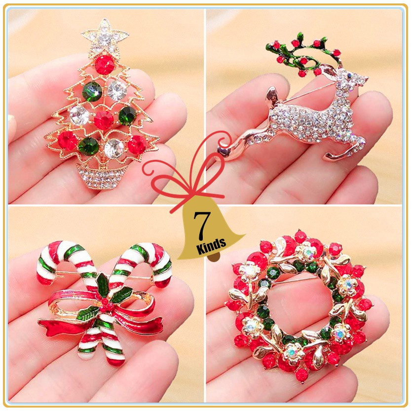 Christmas Brooches And Pins.Multi Colored Rhinestone Crystal Christmas Brooch Pin Set