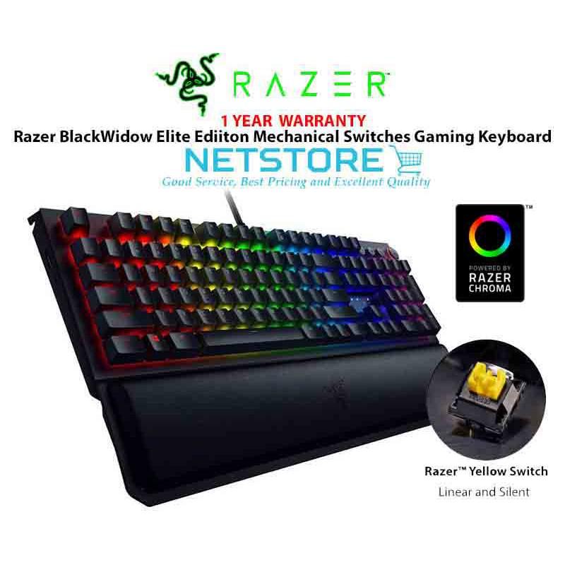 Razer BlackWidow Elite Mechanical Gaming Keyboard Wrist Rest - Yellow Switch