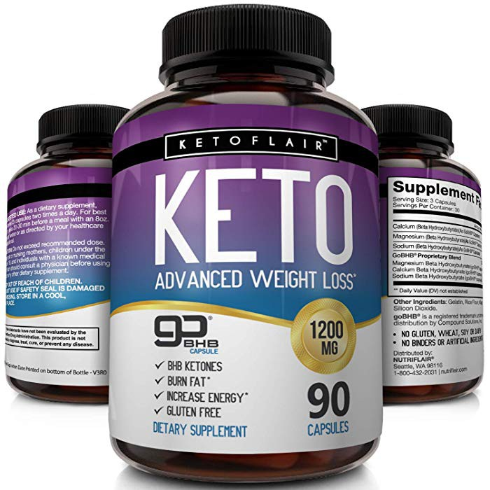 Nutriflair Keto Diet Pills Gobhb 1200mg 90 Capsules Advanced Weight Loss Ketosis