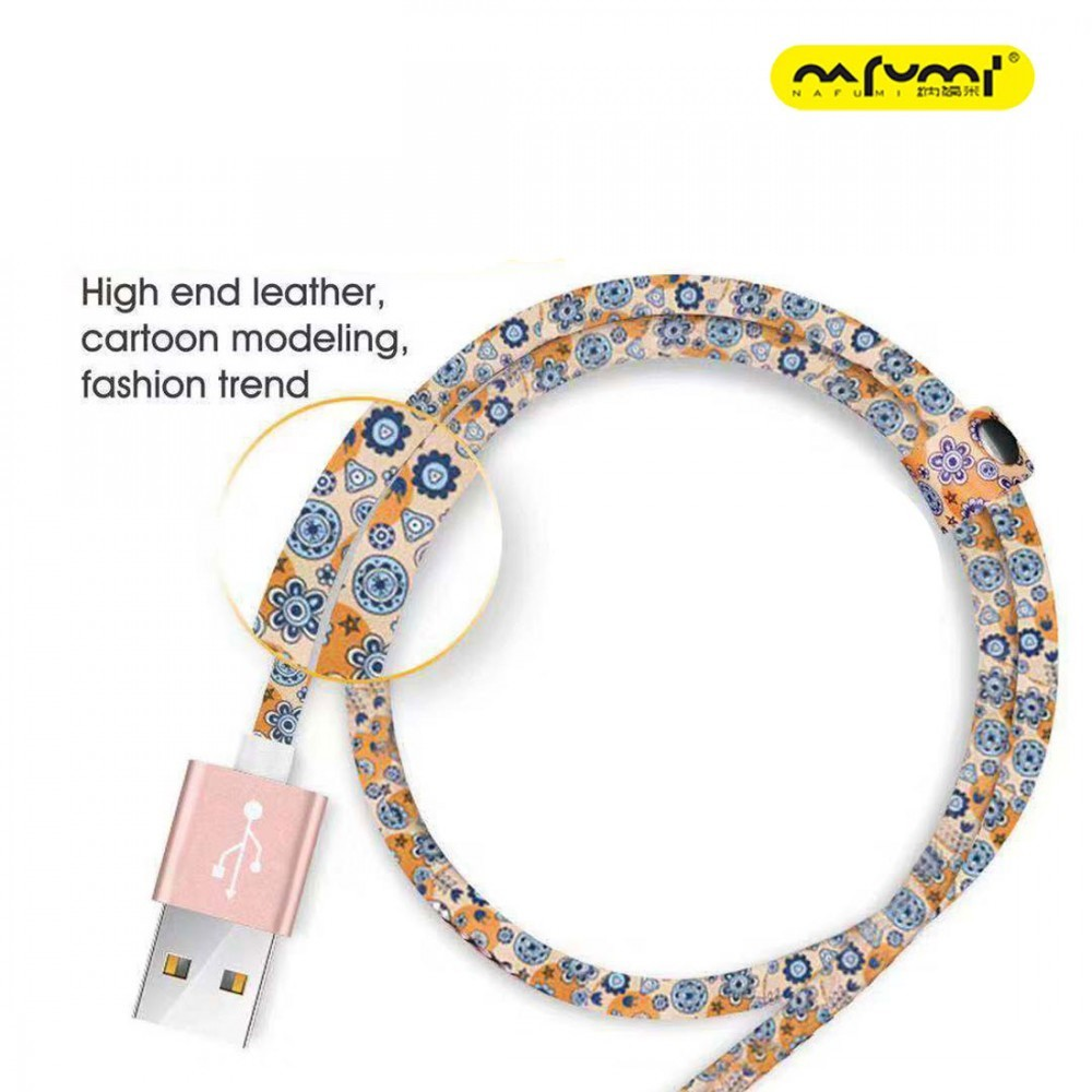 NAFUMI K3 CARTOON LEATHER DATA CHARGING CABLE HIGH SPEED QUICK CHARGE 100CM 2.1A APPLE LIGHTNING MICRO USB TYPE C PORT