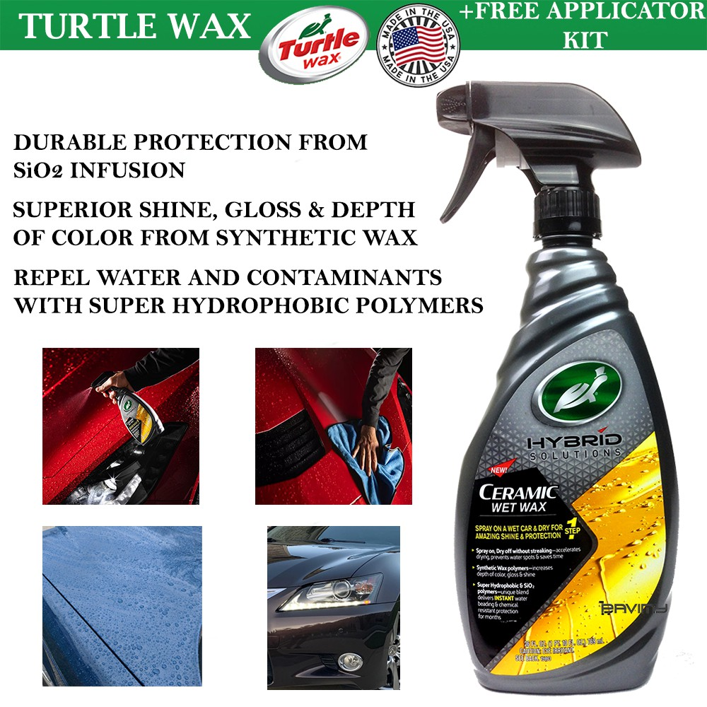 Ceramic Wet Wax Hybrid Solutions By Turtle Wax (769ml)   Ceramic Coating + Hydrophobic Polymers + Synthetic Wax From USA