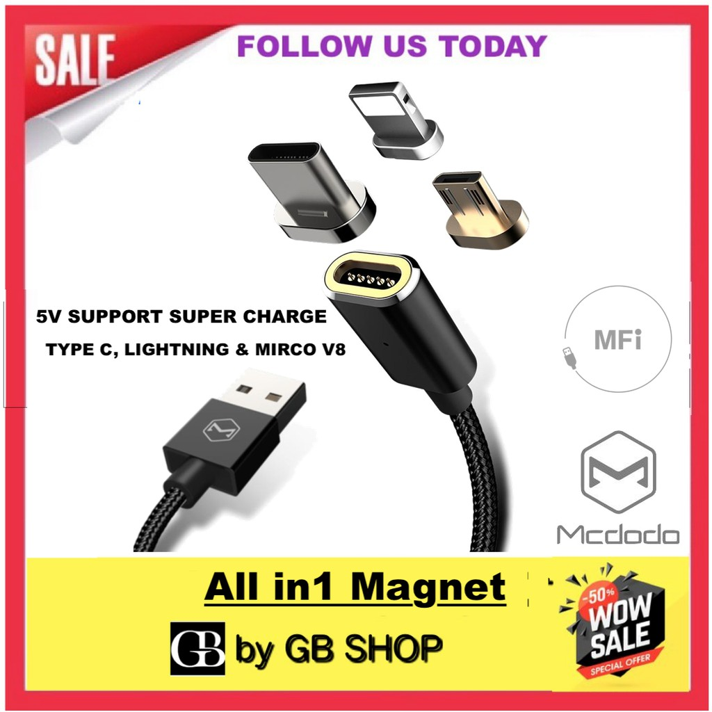 Mcdodo A 42604321 Super Charge Magnetic Cable With 3 Connecter Aukey Cb Cd5 1m Usb C To Quick 30 Braided Nylon Shopee Malaysia